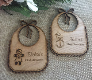 Oak veneer BIB christmas tree decoration - Laser LLama Designs Ltd