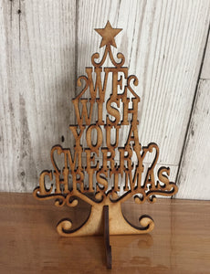 Freestending wooden we wish you a merry christmas tree - Laser LLama Designs Ltd