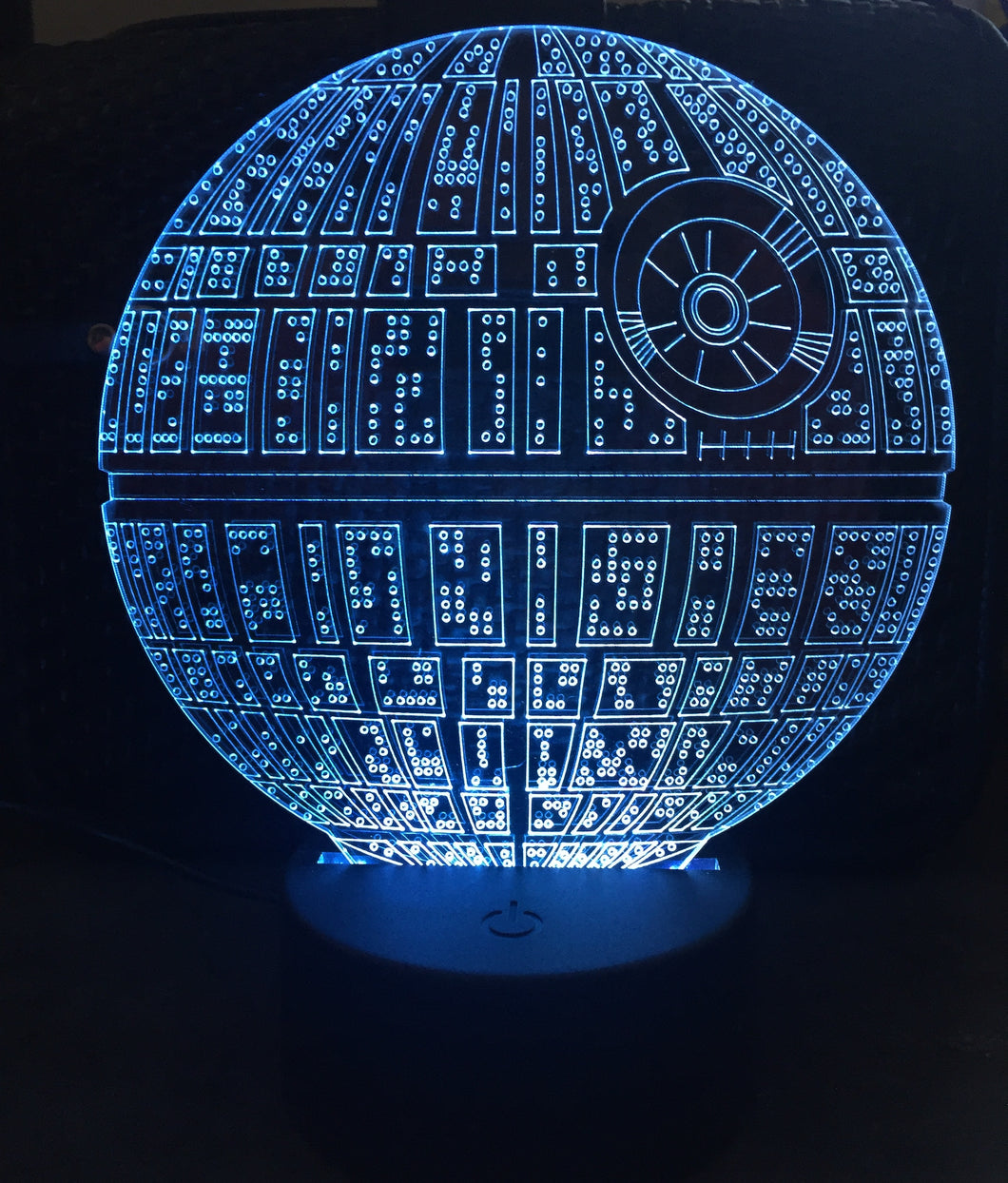 LED light up Death star display. 9 Colour options with remote! - Laser LLama Designs Ltd