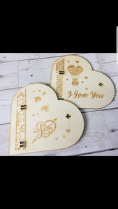 Wooden personalised Heart box - Laser LLama Designs Ltd