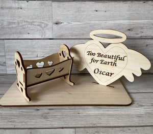 Personalised baby crib and plaque set on the base