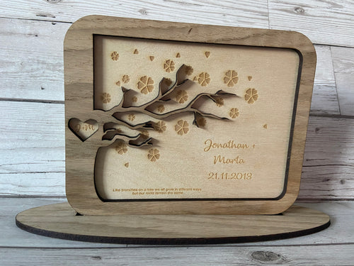 Oak veneer personalised love tree plaque - Laser LLama Designs Ltd