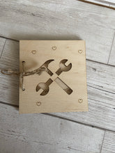 Load image into Gallery viewer, Wooden personalised tools card - Laser LLama Designs Ltd