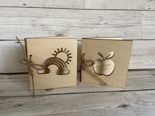 Wooden personalised teacher card - Laser LLama Designs Ltd