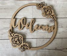Load image into Gallery viewer, Floral hoop with name- any message can be added - Laser LLama Designs Ltd