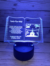 Load image into Gallery viewer, Light up 3D  open book christening gift display. 9 Colour options with remote! - Laser LLama Designs Ltd