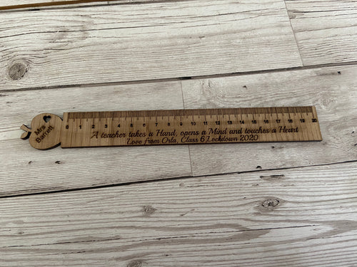 Oak veneer personalised ruler - Laser LLama Designs Ltd