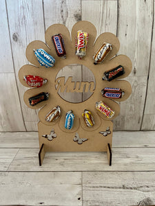 Wooden flower shape stand for celebrations chocolates - Laser LLama Designs Ltd
