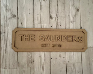 Wooden personalised street sign - Laser LLama Designs Ltd