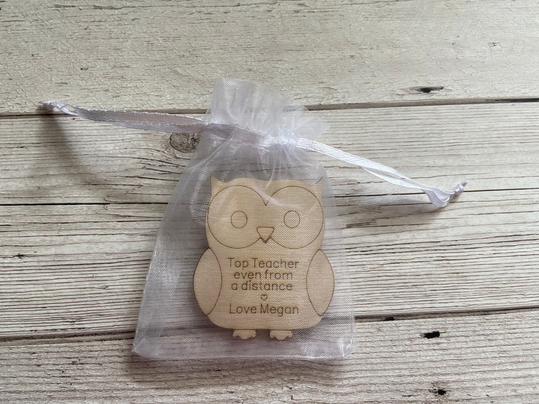 Wooden personalised owl in the bag - Laser LLama Designs Ltd
