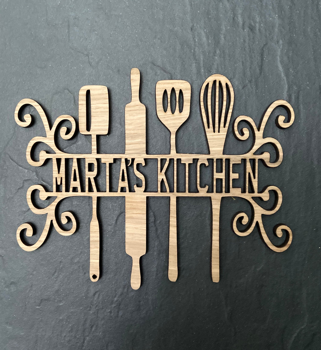 Personalised oak venner kitchen plaque - Laser LLama Designs Ltd