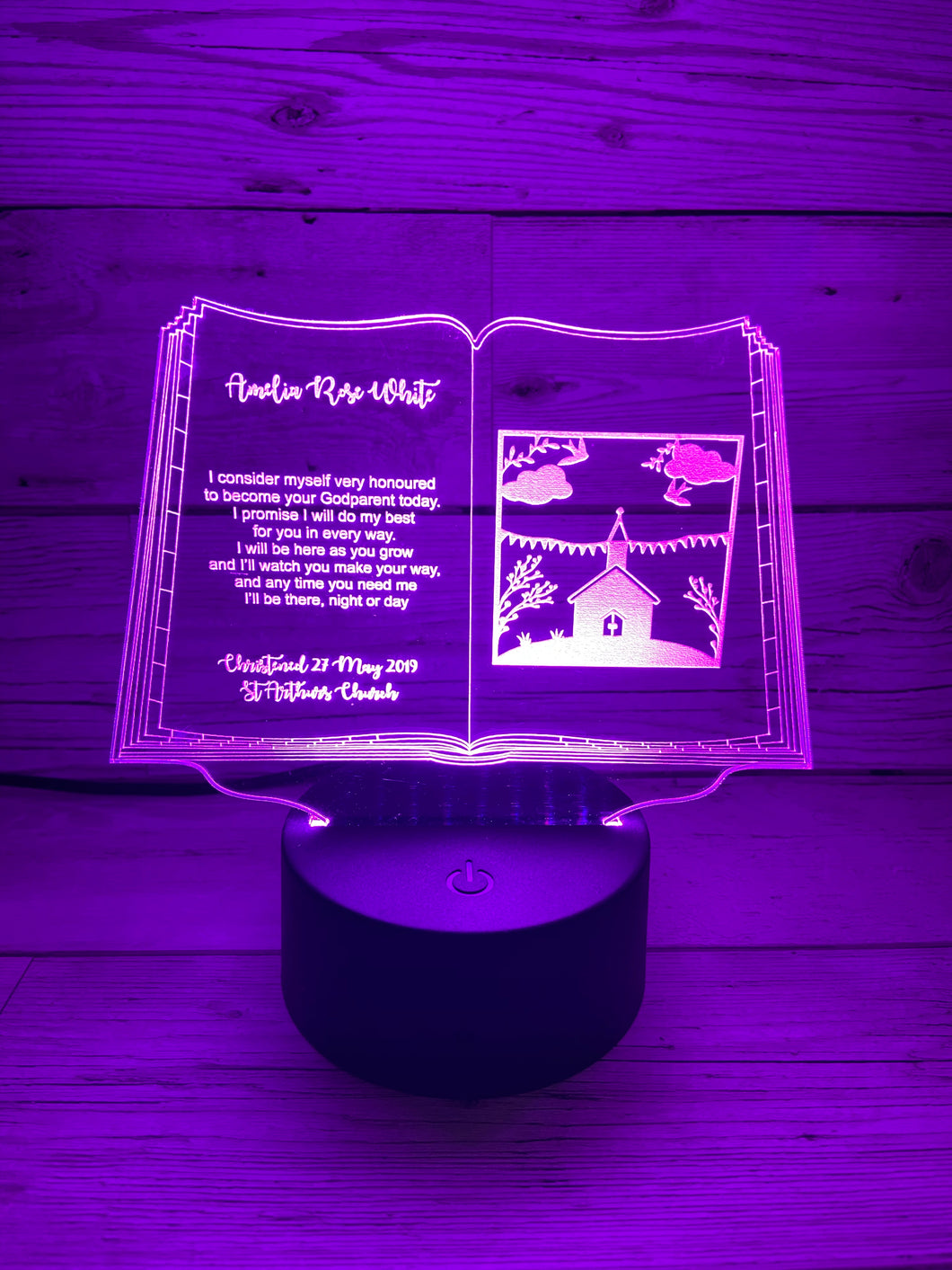 Light up 3D  open book christening gift display. 9 Colour options with remote! - Laser LLama Designs Ltd
