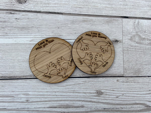 Oak veneer personalised heart hug with little hands - Laser LLama Designs Ltd
