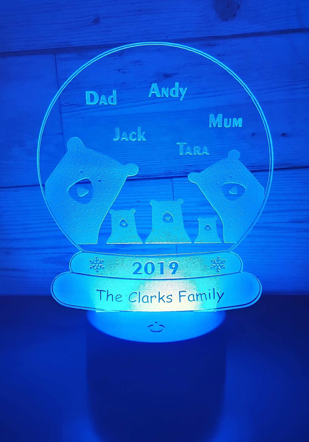 Bear family snow globe LED light up display- 9 colour options with remote - Laser LLama Designs Ltd