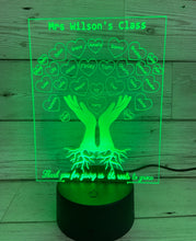 Load image into Gallery viewer, Personalised 3d Led light Teacher class gift-hands with roots - Laser LLama Designs Ltd