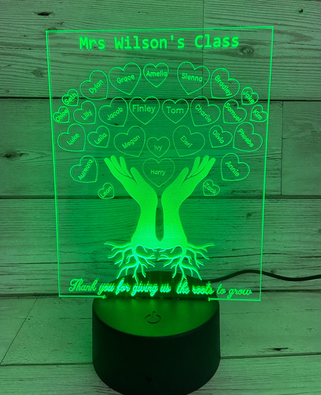 Personalised 3d Led light Teacher class gift-hands with roots - Laser LLama Designs Ltd