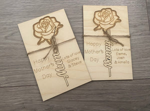 Wooden personalised card with rose cut out