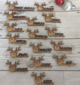 Christmas table  settings mdf names Rudolph - Laser LLama Designs Ltd