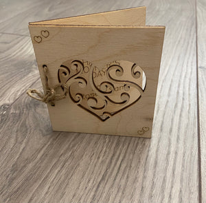 Wooden personalised folding card -4 designs