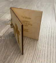 Load image into Gallery viewer, Wooden personalised folding card - giraffe design