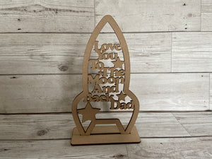 Freestanding rocket moon shape plaque - Laser LLama Designs Ltd