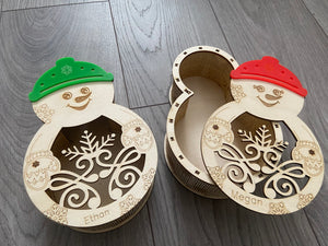 Wooden personalised snowman box