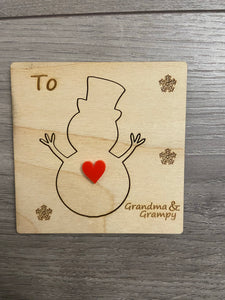Wooden personalised 3d snowman card