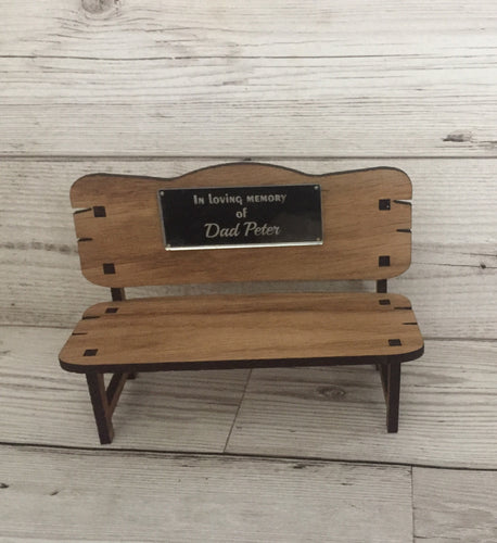 Oak veneer memorial bench - Laser LLama Designs Ltd