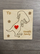 Load image into Gallery viewer, Wooden personalisation 3d dinosaur card