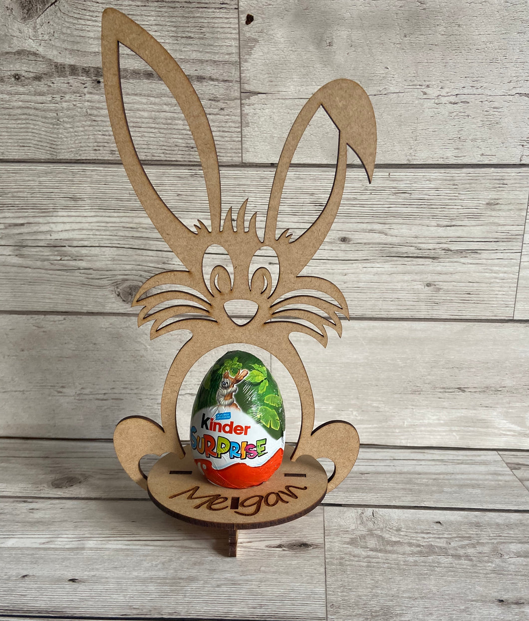 Wooden Personalised mdf bunny egg holder - Laser LLama Designs Ltd