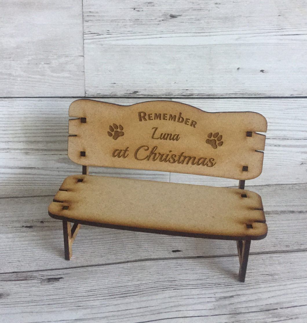 Wooden memorial pet bench - Laser LLama Designs Ltd
