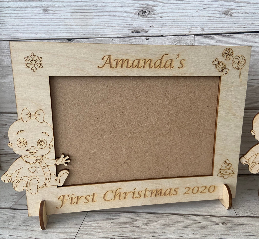 Personalised wooden first Christmas photo frame
