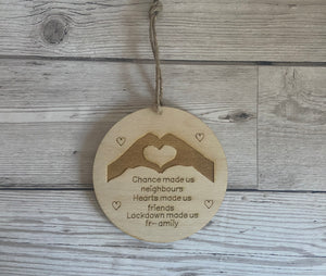 "Wooden hanging plaque ""chance made us neighbours "" - Laser LLama Designs Ltd"