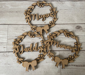 Wooden personalised wreath baubles