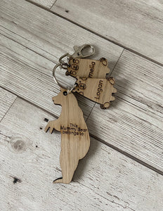 Oak veneer mummy bear keyring