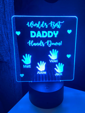 Dad hands down  light up display- 9 colour options with remote!