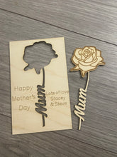 Load image into Gallery viewer, Wooden personalised card with rose cut out