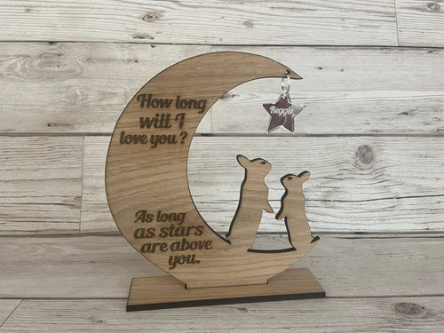 How long will i love you... personalised moon & star decoration - Laser LLama Designs Ltd