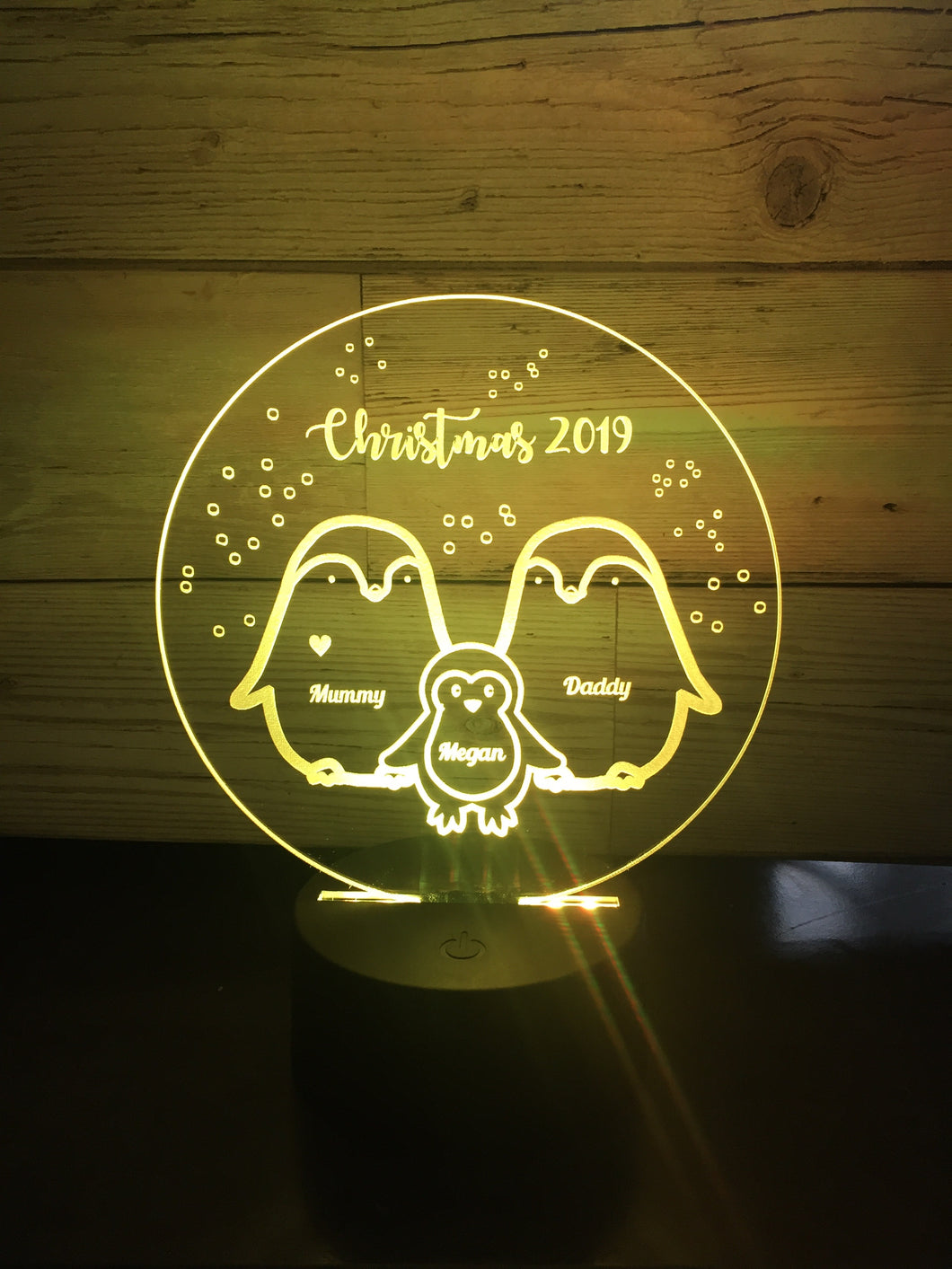 Penguin family LED light up display- 9 colour options with remote! - Laser LLama Designs Ltd