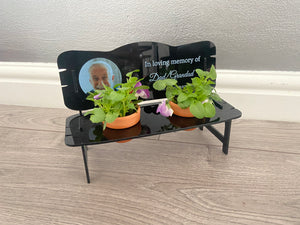Printed acrylic personalised photo bench for flower pots
