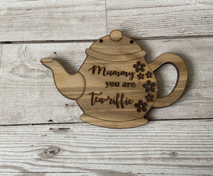 Oak venner tea pot plaque - Laser LLama Designs Ltd