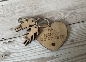 Oak veneer personalised heart keyring with kids shapes