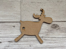 Load image into Gallery viewer, Wooden reindeer  tree decoration - Laser LLama Designs Ltd