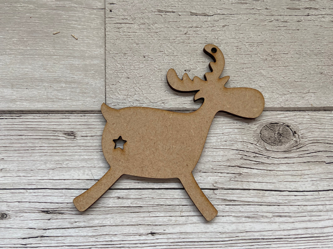 Wooden reindeer  tree decoration - Laser LLama Designs Ltd