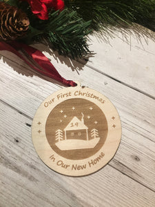 Wooden Christmas bauble first home - Laser LLama Designs Ltd