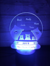 Load image into Gallery viewer, Bear family snow globe LED light up display- 9 colour options with remote - Laser LLama Designs Ltd