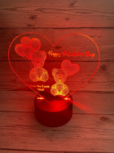 Load image into Gallery viewer, Light up 3D heart with bears display. 9 Colour options with remote! - Laser LLama Designs Ltd