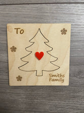 Load image into Gallery viewer, Wooden personalised 3d Christmas tree card