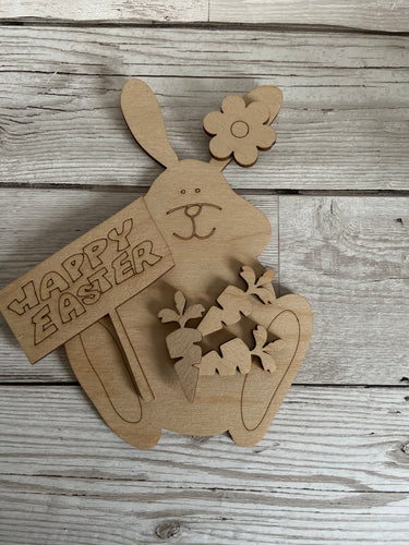 Wooden bunny with happy Easter plaque - Laser LLama Designs Ltd