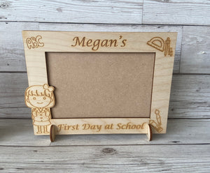 Personalised wooden first day at school photo frame